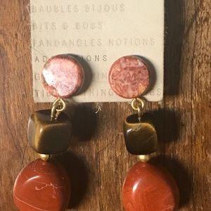 NWT Anthropologie Drop Gemstone Maroon Earrings